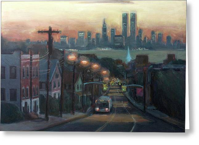 Victory Boulevard At Dawn Greeting Card by Sarah Yuster