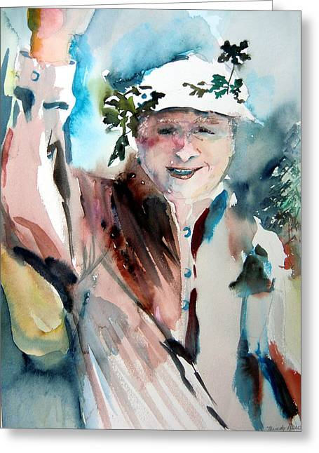 Runner Mixed Media Greeting Cards - Victory Greeting Card by Mindy Newman