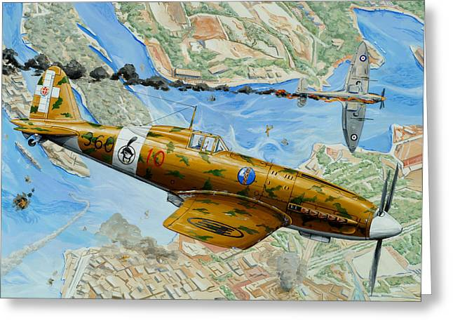 Flight Drawings Greeting Cards - Victory over Malta Greeting Card by Charles Taylor