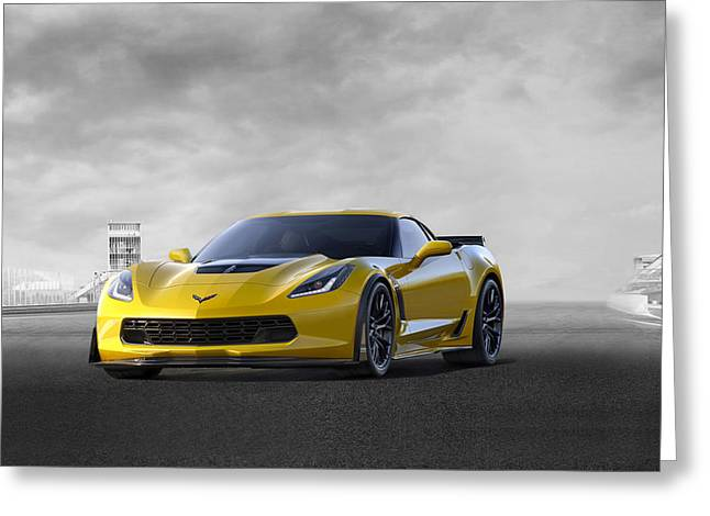 Greeting Card featuring the digital art Victory Yellow  by Peter Chilelli