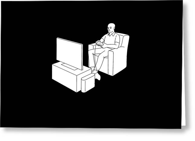 Video Gamer Tee Greeting Card by Edward Fielding
