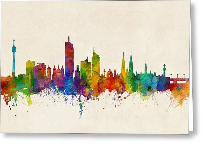 Vienna Austria Skyline Greeting Card by Michael Tompsett