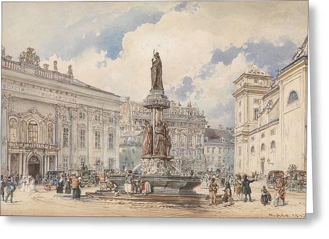 Vienna, Freyung With Austria Fountains Greeting Card by Rudolf von Alt