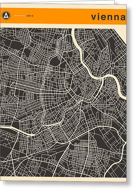 Vienna Map Greeting Card by Jazzberry Blue
