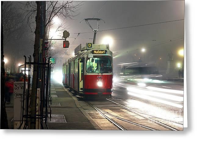 Vienna Tram At Night Greeting Card