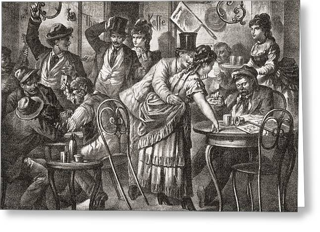 Viennese Coffee House Life, 1875. From Greeting Card by Vintage Design Pics