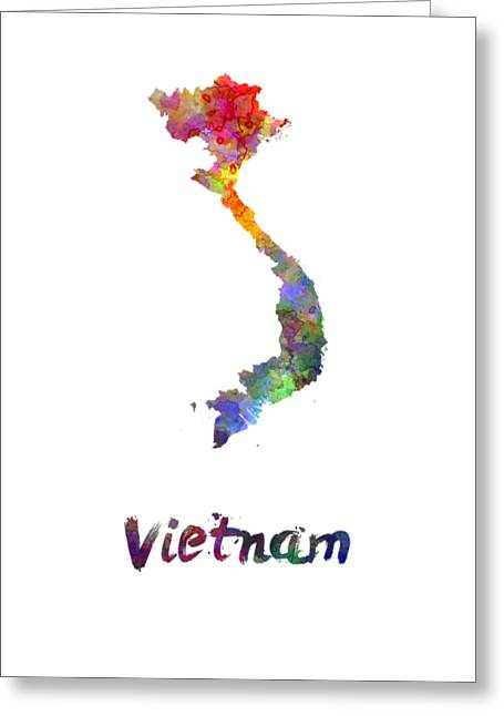 Vietnam In Watercolor Greeting Card by Pablo Romero