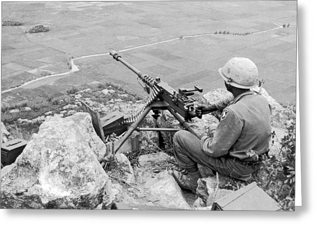 Vietnam Machine Gunner Greeting Card by Underwood Archives
