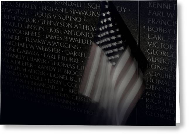Vietnam Memrial Wall With Us Flag Greeting Card