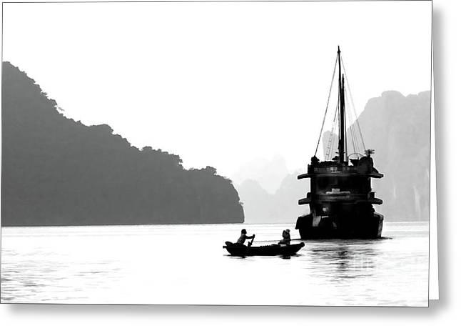 Vietnam Scene Ha Long Bay Bw Greeting Card