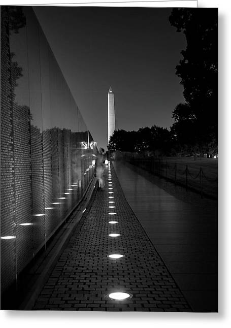 Vietnam Veterans Memorial At Night In Black And White Greeting Card by Chrystal Mimbs
