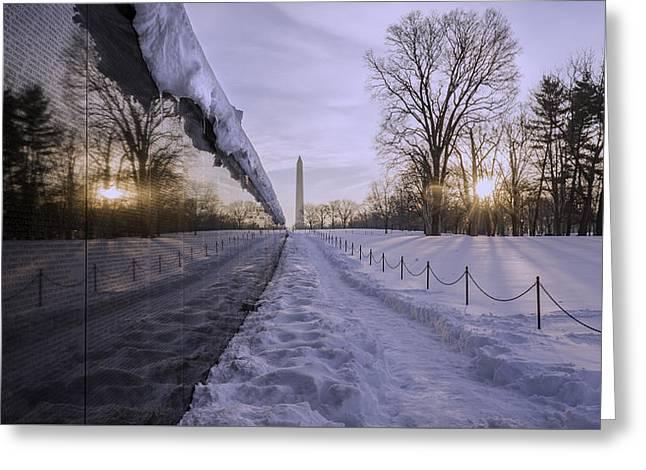 Vietnam Vetrans Memorial In Snow Greeting Card by Michael Donahue