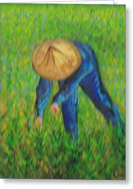 Vietnamese Rice Planter  Greeting Card by Lore Rossi