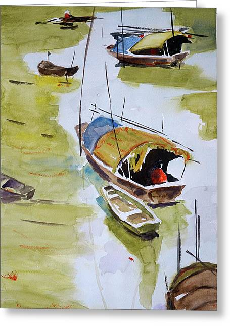 Vietnamese Sampans Greeting Card