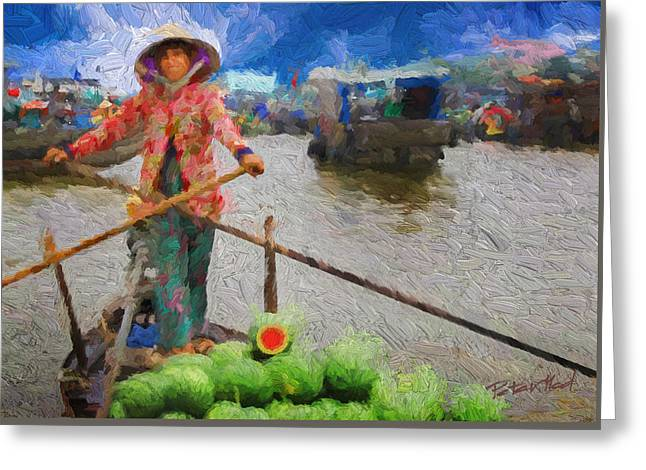 Vietnamese Woman Boating Greeting Card by Peter Moderdovsky
