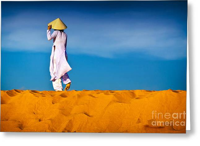 Vietnamese Woman In The Red Sand Dunes Mui Ne Vietnam Greeting Card