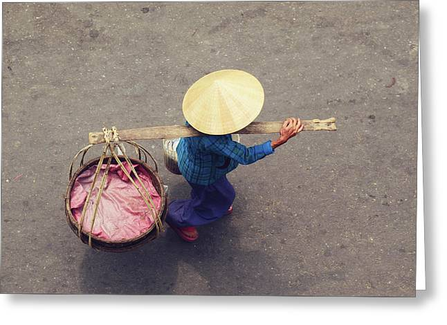Vietnamese Worker From Above Greeting Card