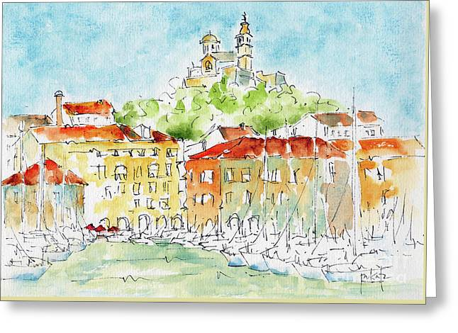 Greeting Card featuring the painting Vieux Port Marseille by Pat Katz