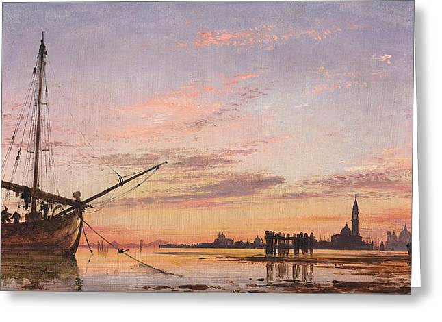 View Across The Lagoon, Venice, Sunset Greeting Card by Edward William Cooke