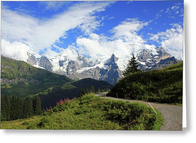 View At The Famous Mountains Eiger Moench And Jungfrau Switzerland Greeting Card