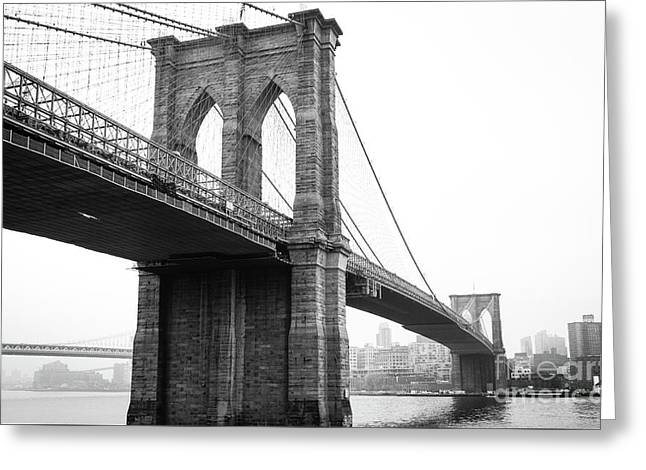 View Brooklyn Bridge With Foggy City In The Background Greeting Card