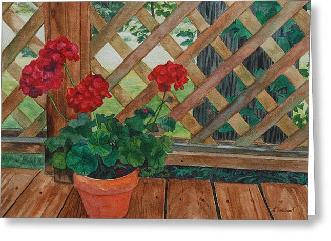 View From A Deck Greeting Card by Lynne Reichhart