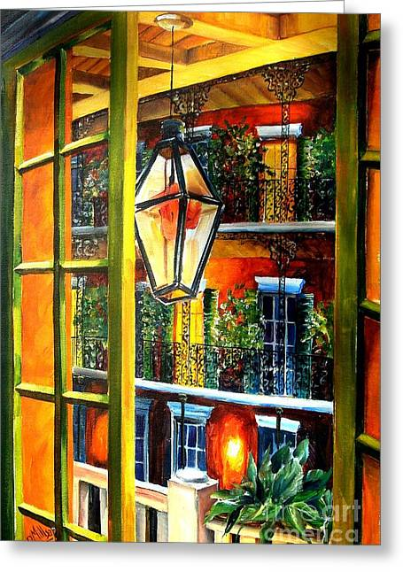 French Doors Greeting Cards - View from a French Quarter Balcony Greeting Card by Diane Millsap