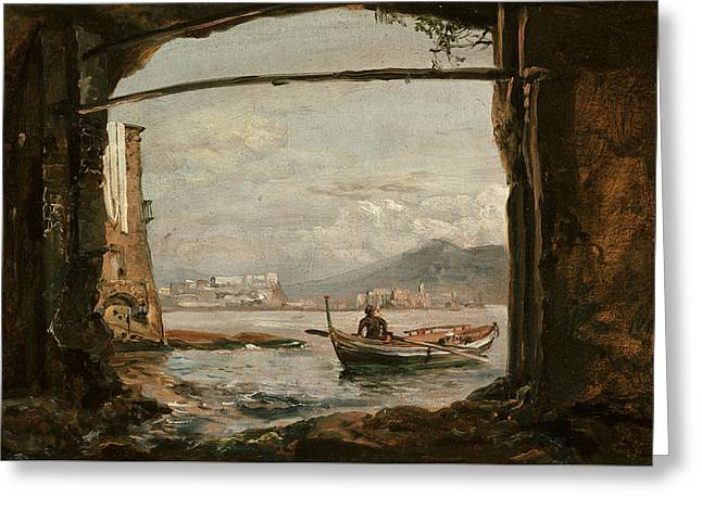 View From A Grotto Near Posillipo Greeting Card by Johan Christian Dahl