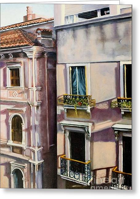 View From A Venetian Window Greeting Card by Marlene Book