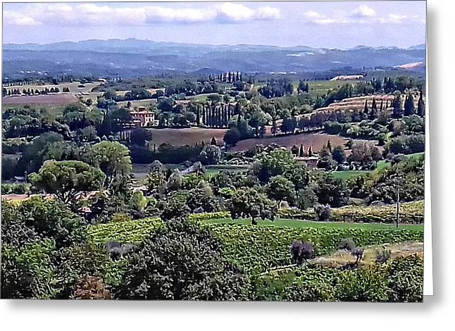 View From Cetona In Tuscany To Citta Della Pieve In Umbria Greeting Card