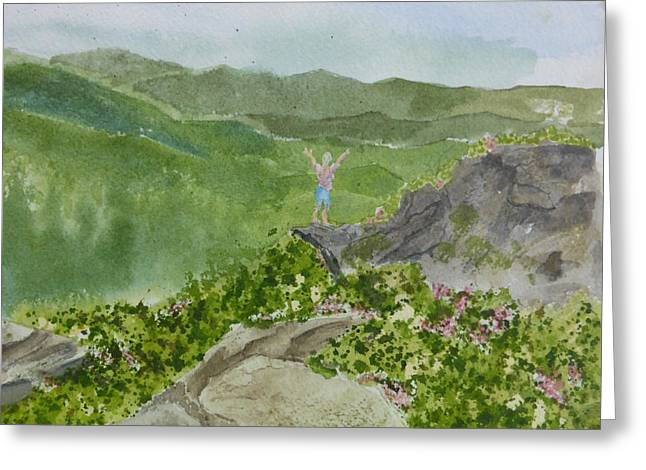 Greeting Card featuring the painting View From Craggy Gardens - A Watercolor Sketch  by Joel Deutsch