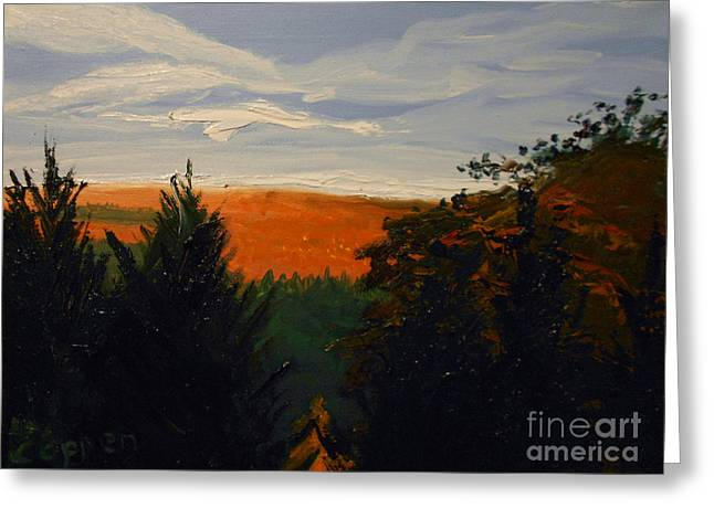 Greeting Card featuring the painting View From Janis Road In Autumn by Robert Coppen
