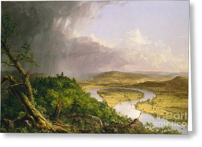 View From Mount Holyoke, Northampton, Massachusetts, After A Thunderstorm The Oxbow, 1836 Greeting Card by Thomas Cole