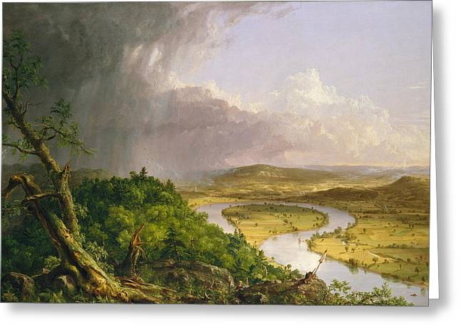 Greeting Card featuring the painting View From Mount Holyoke Northampton Massachusetts After A Thunderstorm. The Oxbow by Thomas Cole