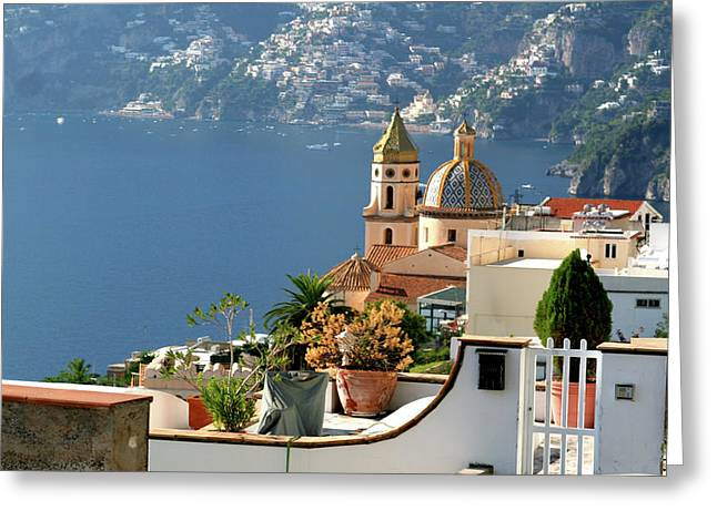 View From Praiano To Positano Greeting Card