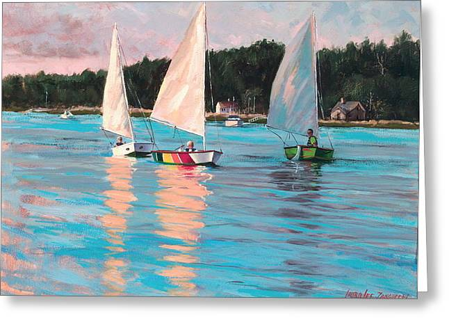View From Rich's Boat Greeting Card by Laura Lee Zanghetti
