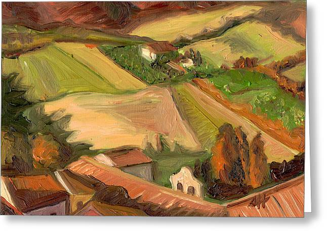 View From San Gimignano II Greeting Card by Jennie Traill Schaeffer