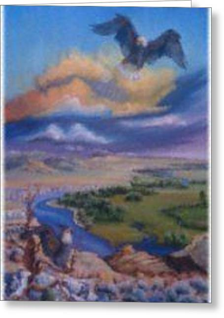 Greeting Card featuring the painting View From Sheep Rock by Dawn Senior-Trask