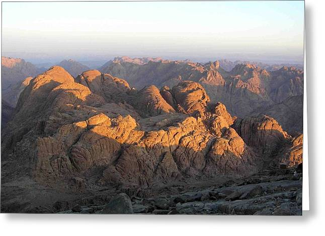view from Sinai Mountain Egypt Greeting Card by Evguenia Men