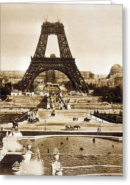 View From The Chaillot Palace Of The Eiffel Tower Being Built Greeting Card by French School