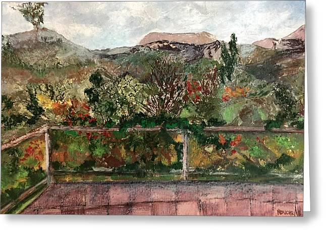Greeting Card featuring the mixed media View From The Deck by Norma Duch