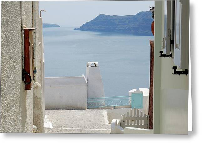 View From The Doors Of The Aegean Sea Greeting Card