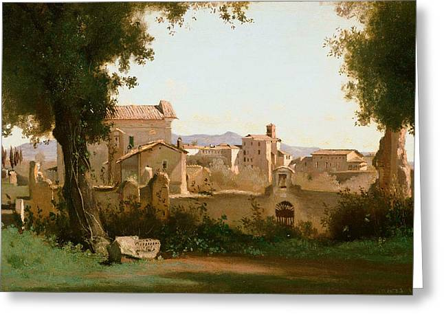 View From The Farnese Gardens, Rome Greeting Card by Jean-Baptiste-Camille Corot