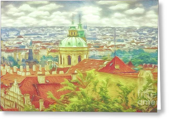 View From The High Ground - Prague  Greeting Card
