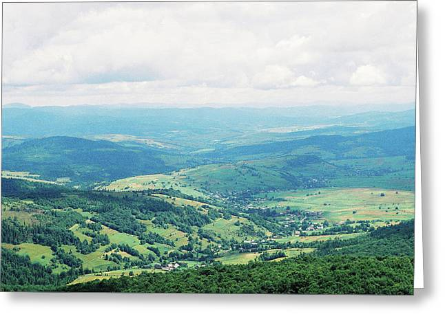 View From The Mountain To The Village 2 Greeting Card by Anton Popov
