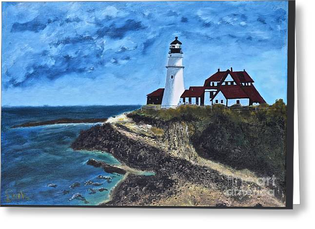 View From The North Portland Head Light Greeting Card