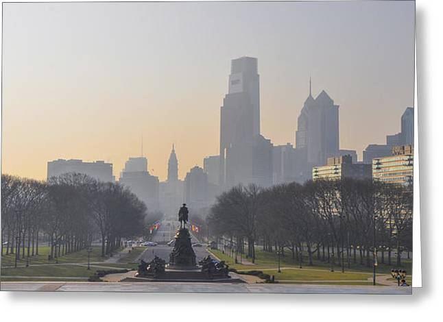 View From The Philadelphia Art Museum - Cityscape Greeting Card by Bill Cannon