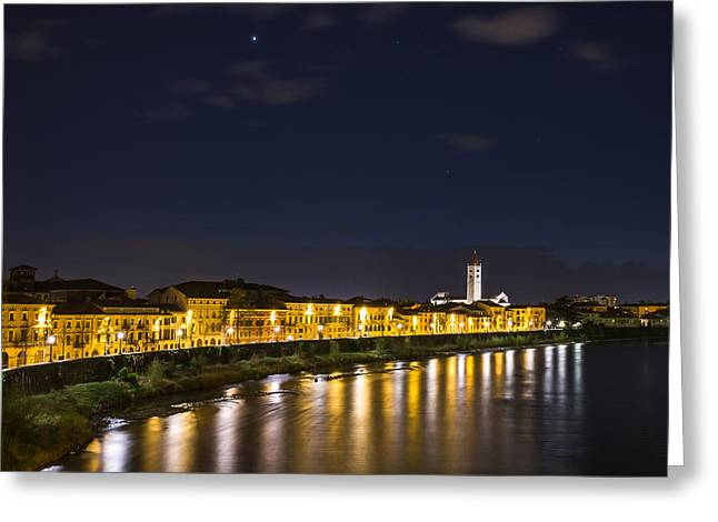 View From The Ponte Pietra Verona Italy At Blue Hour Greeting Card by Travel Quest Photography