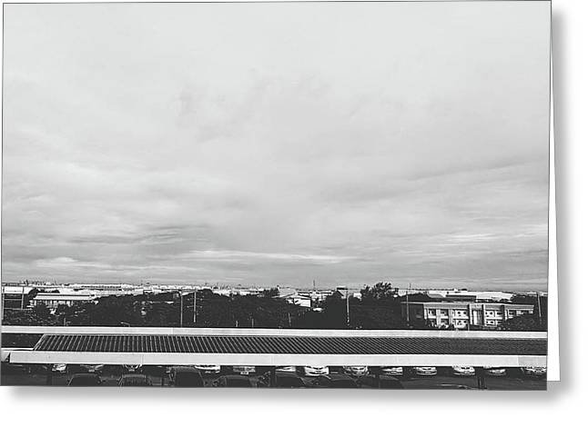 View From The Terrace Black And White Greeting Card by Siri