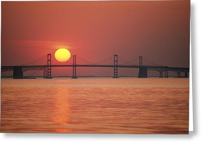 Chesapeake Bay Bridge Greeting Cards - View From The Water Of The Chesapeake Greeting Card by Kenneth Garrett